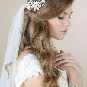 Coiffure de mariage avec cheveux lâchés et voile