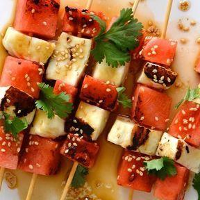 Brochettes de pastèque et halloumi